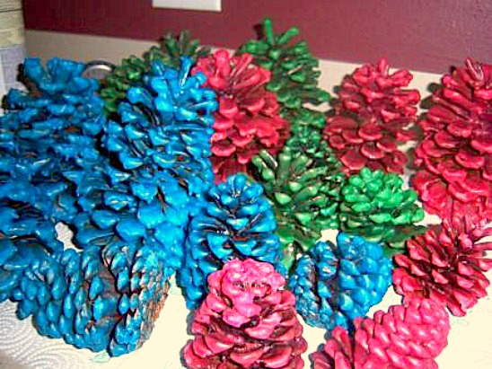 how to make wax covered pine cones