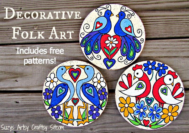 love birds decorative folk art with free patterns