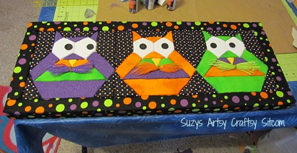 halloween hooty owls no sew quilted wall art