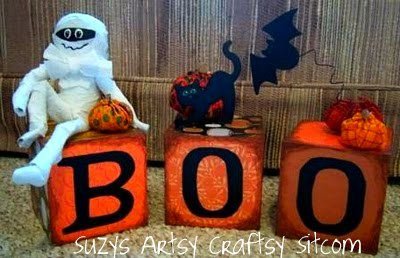 mummy boo blocks halloween home decor