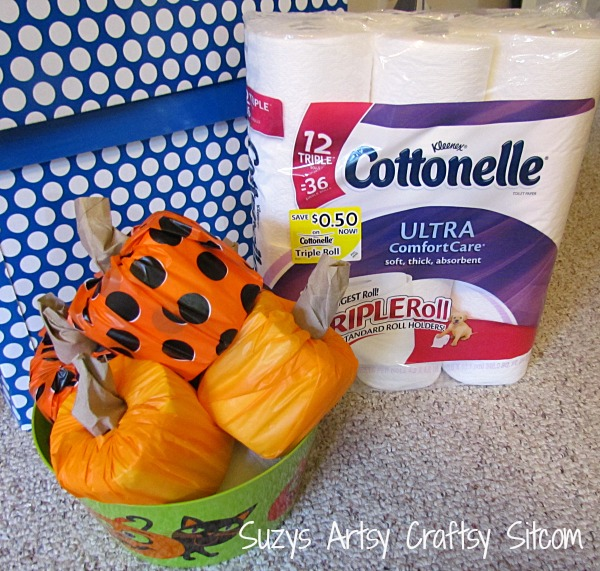 pirate ghost and pumpkin decoration made with toilet paper