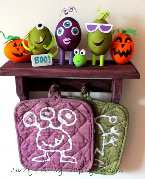 monster shelf and potholders with RIT dye