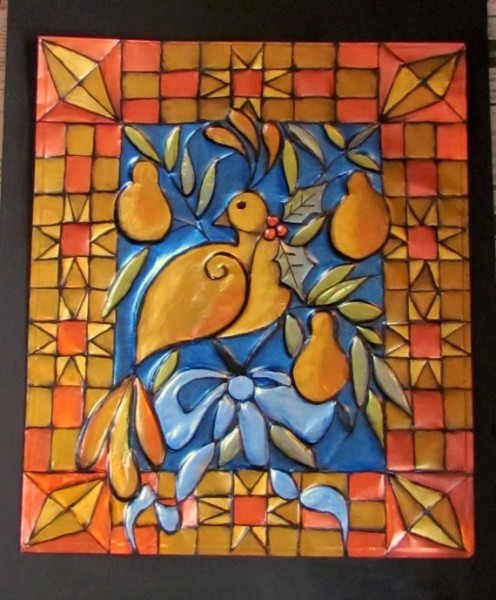 partridge and pear pattern embossed