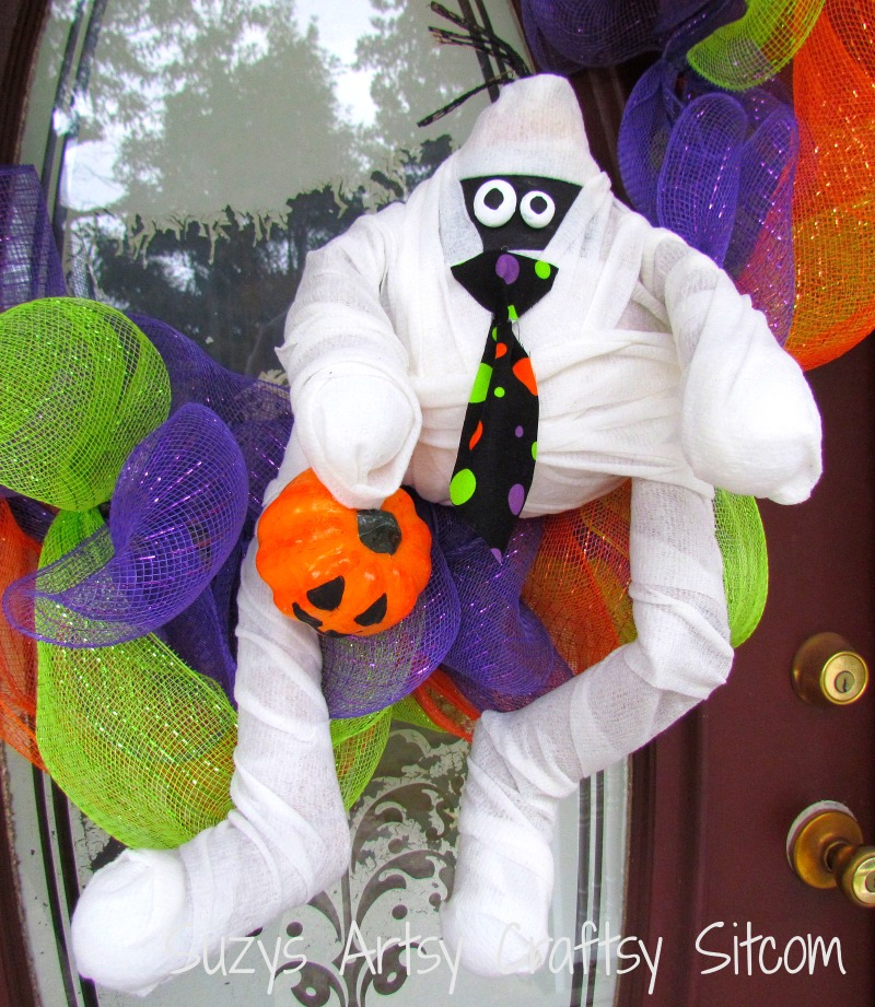halloween wreath recycled diy melvin the mummy
