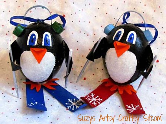 penguin holiday ornaments on skis