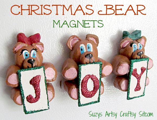 diy christmas bear joy magnets