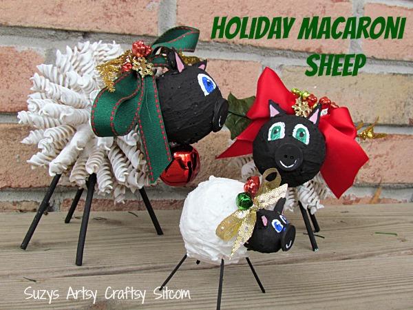 holiday macaroni sheep diy
