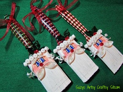 paintbrush santa ornaments
