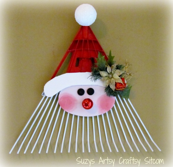 diy santa rake door greeter christmas decoration