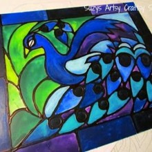 faux stained glass peacock