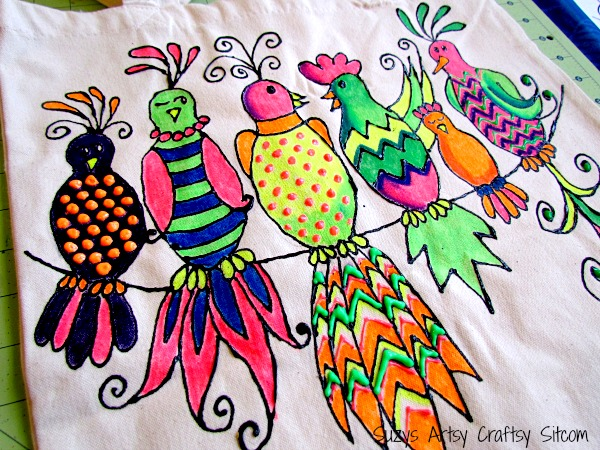 fluorescent gossiping birds tote