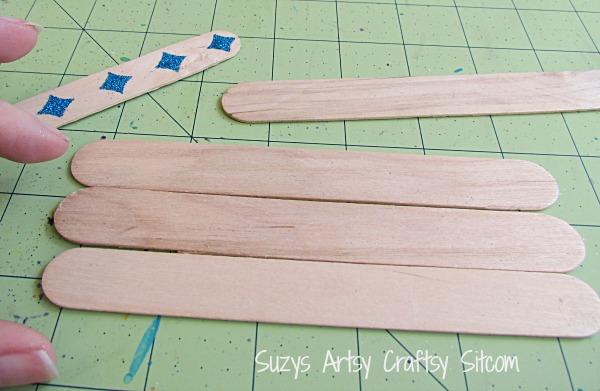 stenciled popsicle stick desk set