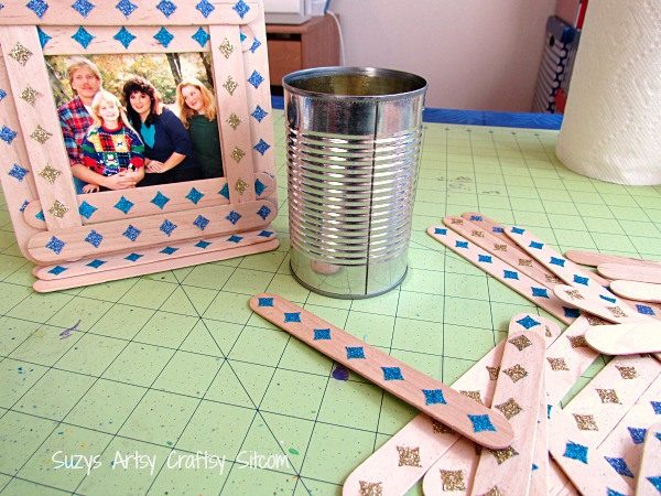 stenciled popsicle stick desk set