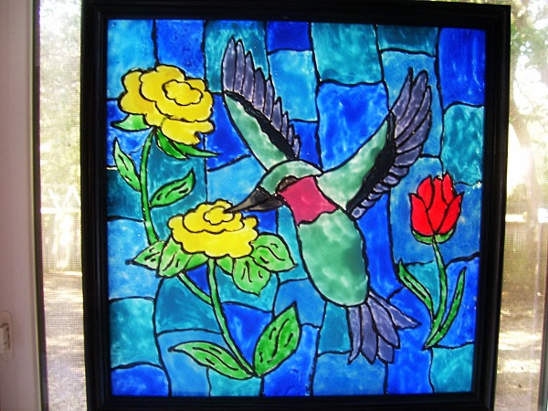 faux stained glass bird craft