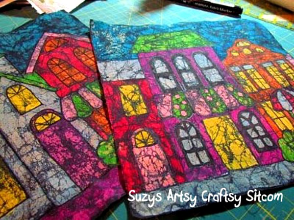 making batik fabric with crayons