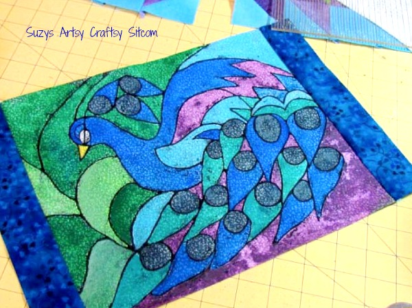batik with crayons peacock