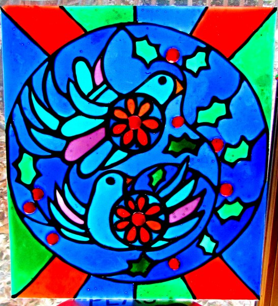 faux stained glass turtle doves