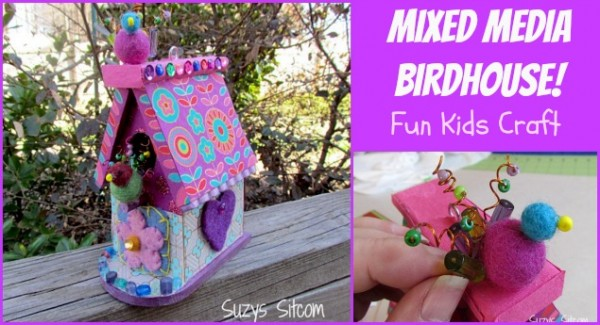 kids craft mixed media birdhouse