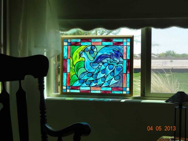 faux stained glass peacock craft