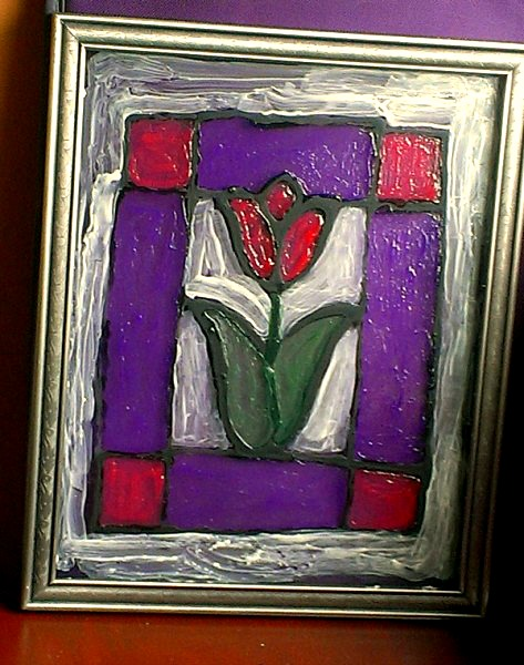 faux stained glass tulip