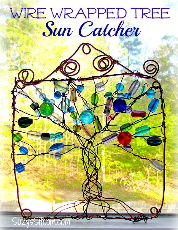 wire wrapped tree sun catcher