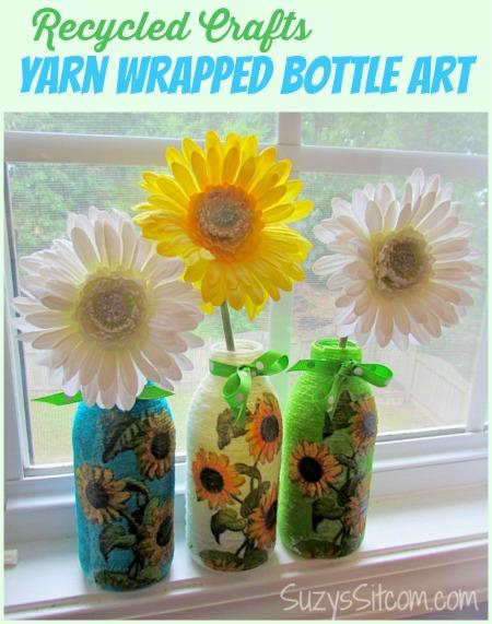 yarn wrapped bottle art