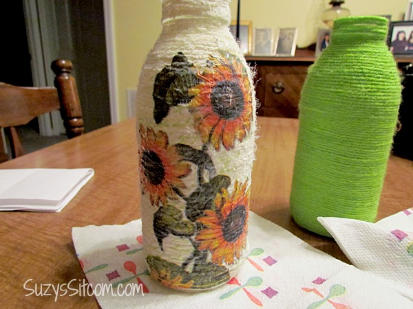 yarn wrapped bottle art