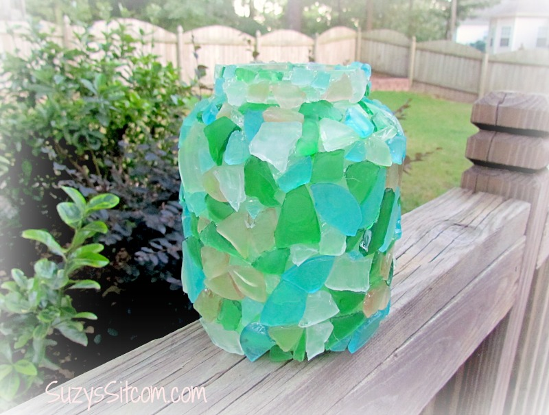 mosaic glass candle lantern