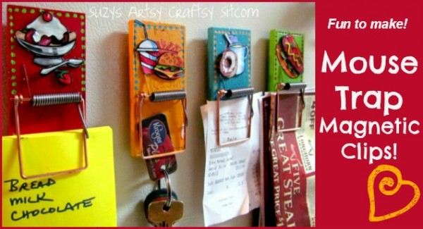 mouse trap magnetic clips diy recycled crafts