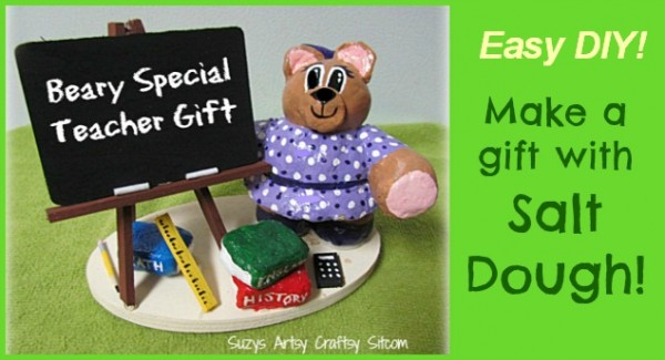 teacher gift diy craft salt dough bear