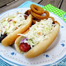 bacon wrapped hotdogs with slaw