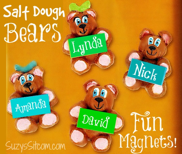 bear salt dough magnets back to school