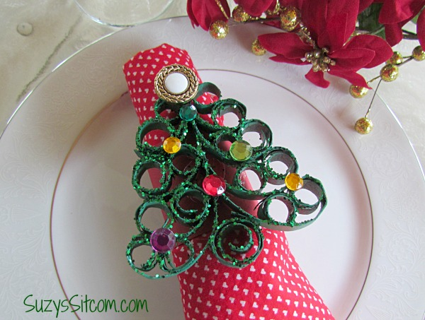 quilled christmas tree napkin rings
