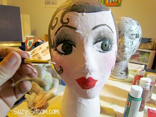 diy flapper mannequin head hat stand