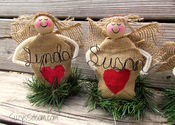 burlap angel place holders table setting