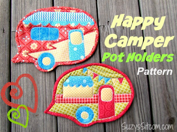 Happy Camper Quilted Pot Holders