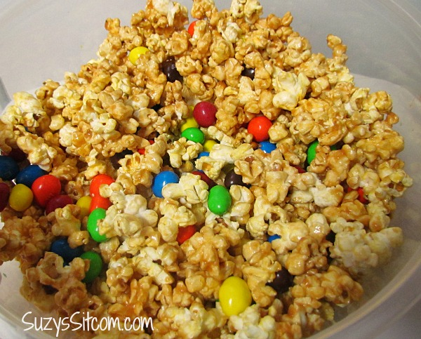 microwave caramel popcorn movie night