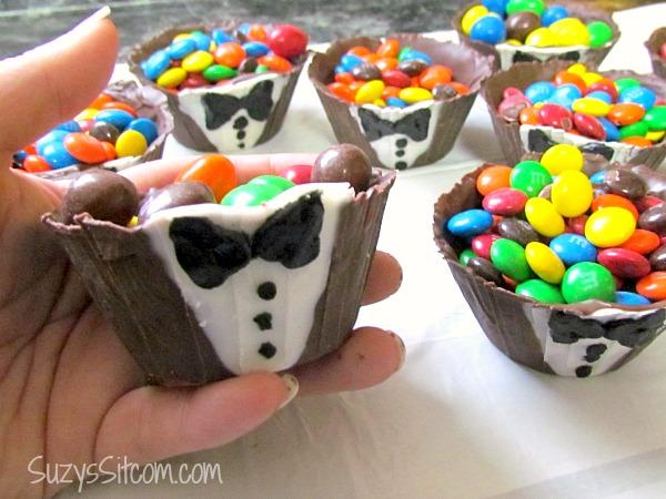 chocolate tuxedo cups M&M snacks