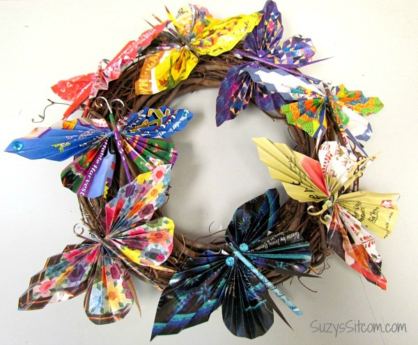 Recycled paper butterfly wreath for Butterflies for crafts and decoration