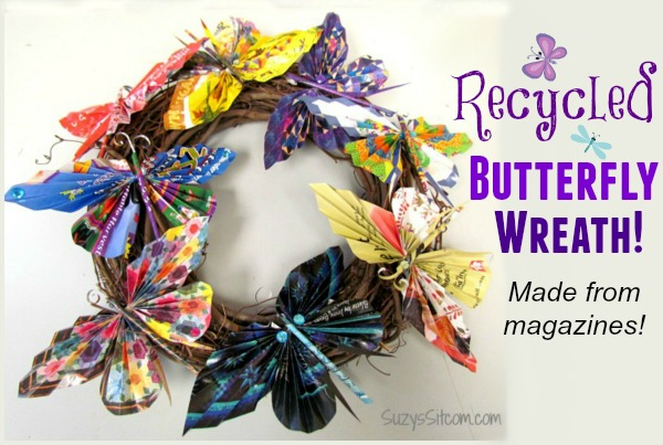 recycled magazine butterfly wreath3