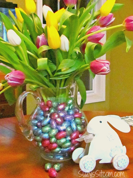 easter tulips and candy