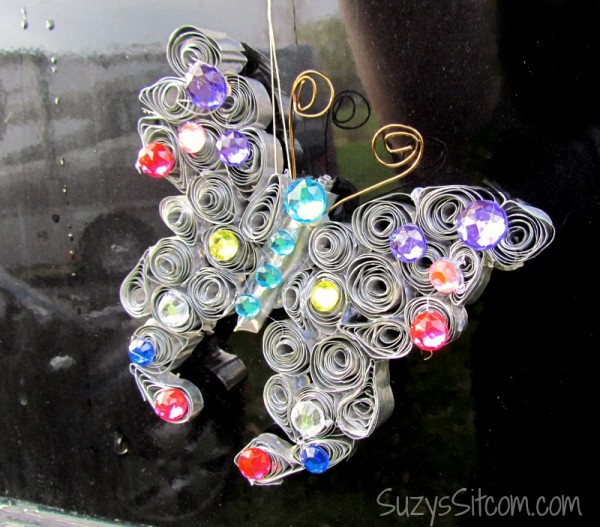 butterfly sun catcher from recycled pans