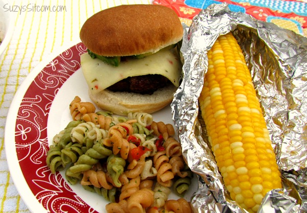 cooking on the grill chipotle burgers and corn on cob