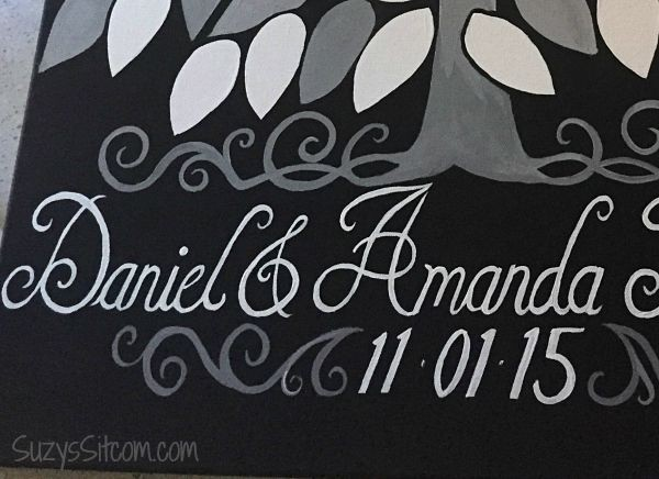 wedding guestbook on canvas