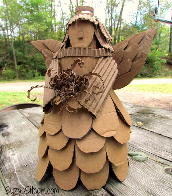 recycled cardboard angel