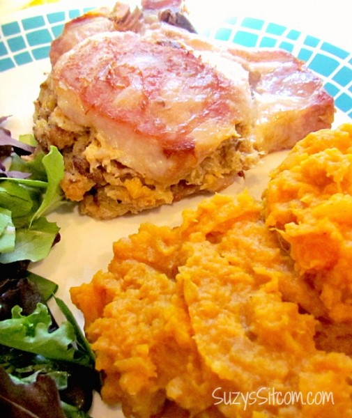 kraft cheese stuffed pork chops and mashed sweet potatoes