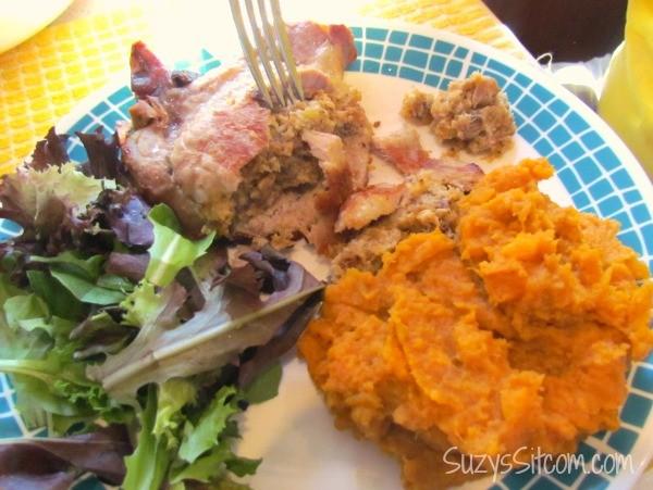 kraft cheese stuffed pork chops and mashed sweet potatoes