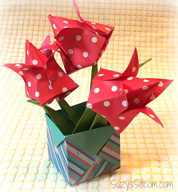 origami flowers and boxes