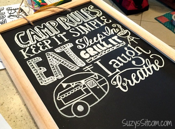 camping rules chalkboard