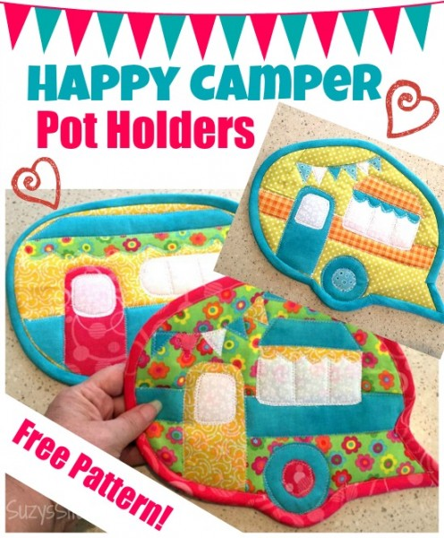 Happy Camper Pot Holders free pattern!